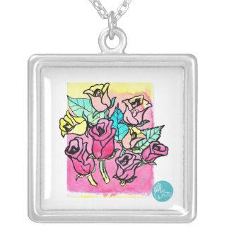 CTC International -  Roses 3 Square Pendant Necklace