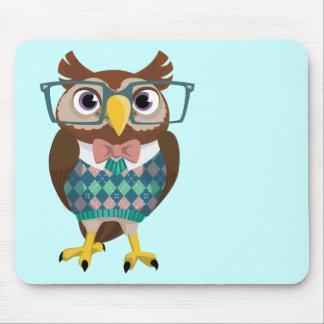 Cte Nerdy Glasses Owl Mouse Pad