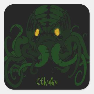 Cthulhu art dark square sticker