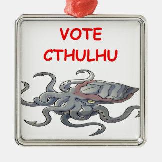 cthulhu del voto adorno navideño cuadrado de metal