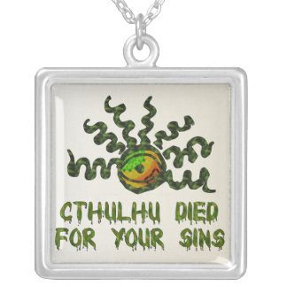 Cthulhu Died Square Pendant Necklace