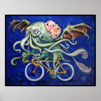 Cthulhu en una bicicleta póster