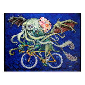 Cthulhu en una bicicleta tarjeta postal