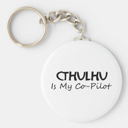 Cthulhu es mi copiloto llavero redondo tipo pin