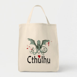 Cthulhu horror vector art grocery tote bag