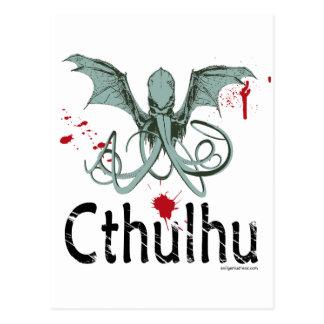 Cthulhu horror vector art postcard