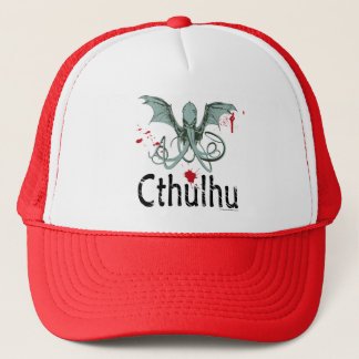 Cthulhu horror vector art trucker hat