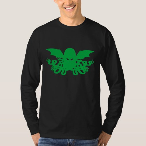 Cthulhu Long Sleeve T-Shirt - Green + Black