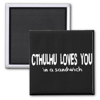 Cthulhu Loves You 2 Inch Square Magnet