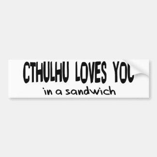 Cthulhu Loves You Car Bumper Sticker