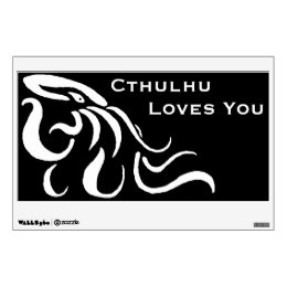 Cthulhu Loves You Wall Decal - White On Black