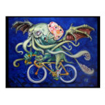Cthulhu On a Bicycle Post Card
