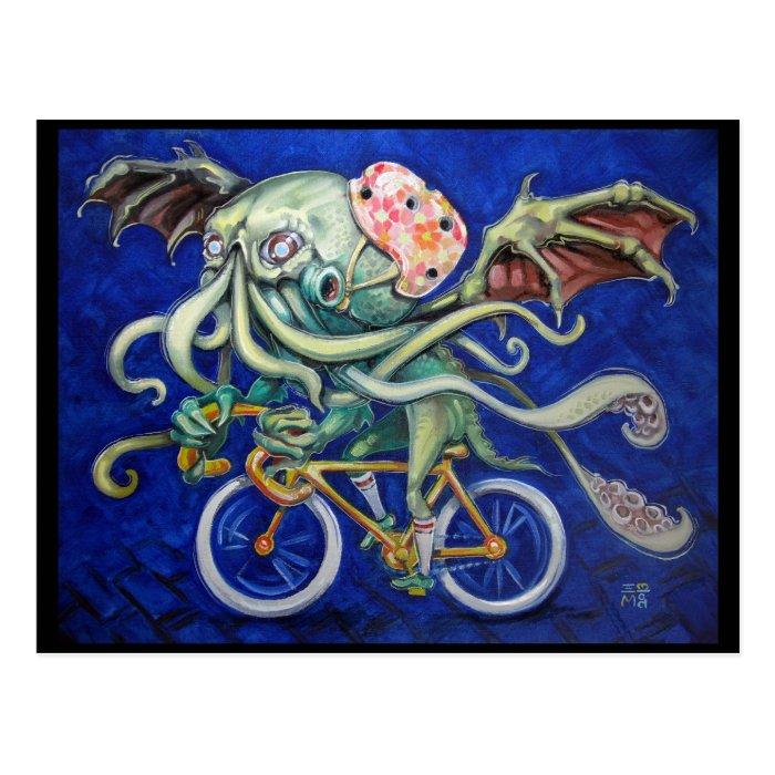 Cthulhu On a Bicycle Postcard