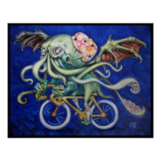 Cthulhu On a Bicycle Poster