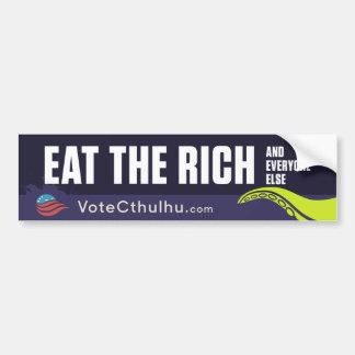 Cthulhu para el presidente 2016 come a los ricos pegatina para auto