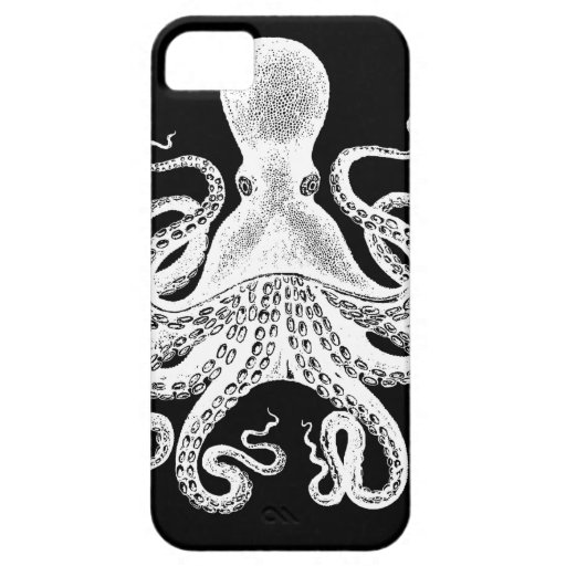 Cthulu Kraken Octopus - Victorian Image on Black iPhone 5 Cover