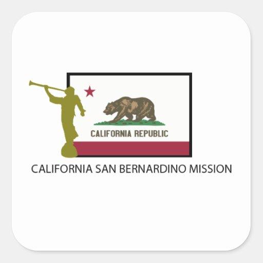 CTR DE LA MISIÓN LDS DE CALIFORNIA SAN BERNARDINO PEGATINA CUADRADA