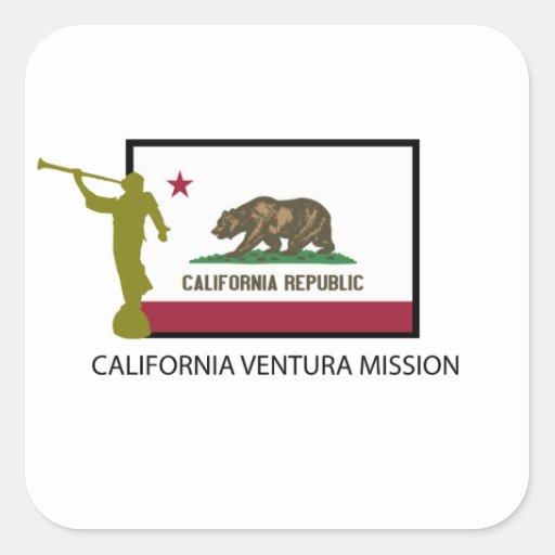 CTR DE LA MISIÓN LDS DE CALIFORNIA VENTURA PEGATINA CUADRADA
