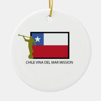 CTR de la misión LDS de Chile Vina del Mar Adorno Navideño Redondo De Cerámica