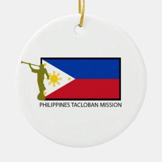 CTR DE LA MISIÓN LDS DE FILIPINAS TACLOBAN ADORNO NAVIDEÑO REDONDO DE CERÁMICA