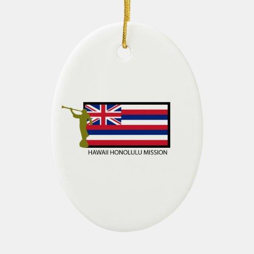 CTR DE LA MISIÓN LDS DE HAWAII HONOLULU ADORNO NAVIDEÑO OVALADO DE CERÁMICA