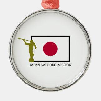 CTR DE LA MISIÓN LDS DE JAPÓN SAPPORO ADORNO REDONDO PLATEADO