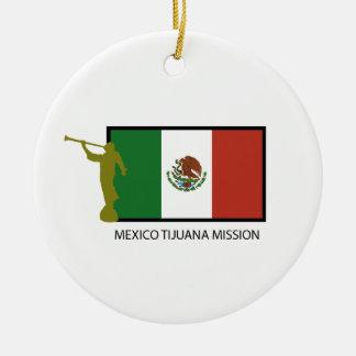 CTR DE LA MISIÓN LDS DE MÉXICO TIJUANA ADORNO NAVIDEÑO REDONDO DE CERÁMICA