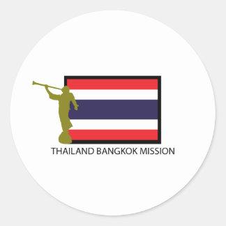 CTR DE LA MISIÓN LDS DE TAILANDIA BANGKOK ETIQUETA REDONDA