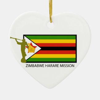 CTR DE LA MISIÓN LDS DE ZIMBABWE HARARE ADORNO NAVIDEÑO DE CERÁMICA EN FORMA DE CORAZÓN