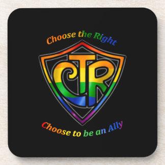 CTR del arco iris - Aliado de LDS LGBT Posavasos De Bebidas