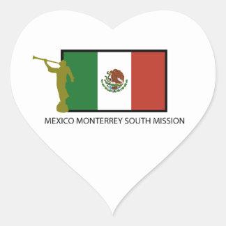 CTR DEL SUR DE LA MISIÓN LDS DE MÉXICO MONTERREY PEGATINA EN FORMA DE CORAZÓN