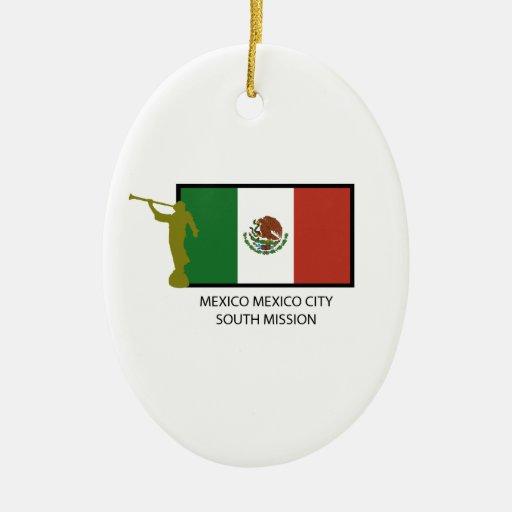 CTR DEL SUR LDS DE LA MISIÓN DE MÉXICO CIUDAD DE ADORNO NAVIDEÑO OVALADO DE CERÁMICA