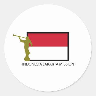 CTR LDS DE LA MISIÓN DE INDONESIA JAKARTA PEGATINA REDONDA