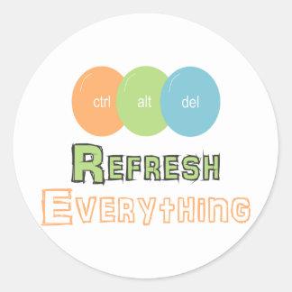 ctrl alt del Refresh Everything Classic Round Sticker