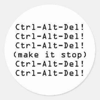 Ctrl-Alt-Del Round Stickers