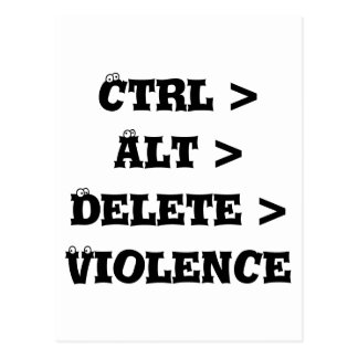 Ctrl > Alt > Delete > Violence - Anti Bully Postcard