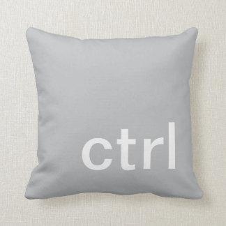 ctrl button pillow, Gray & White Throw Pillow
