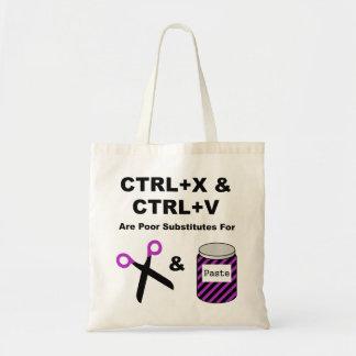 Ctrl+X Y CTRL+V contra las tijeras y la goma Bolsa Tela Barata