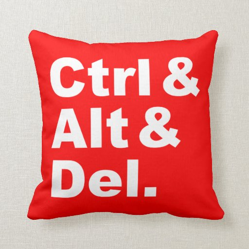 Ctrl y Alt y Del Pillow (colores inversos) Almohadas