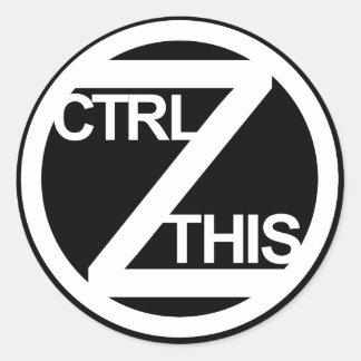 CTRL Z THIS CLASSIC ROUND STICKER