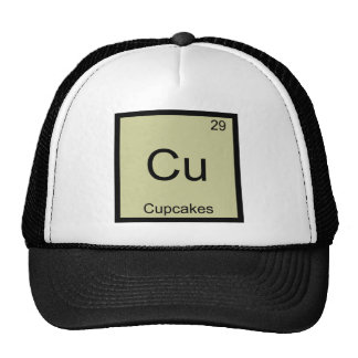 Cu - camiseta divertida del símbolo del elemento d gorra