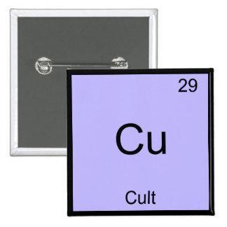 Cu - Cult Funny Chemistry Element Symbol T-Shirt Pinback Button