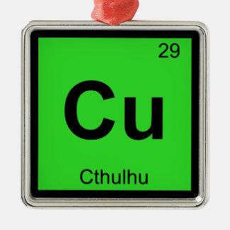 Cu - símbolo de la tabla periódica de la química adorno cuadrado plateado