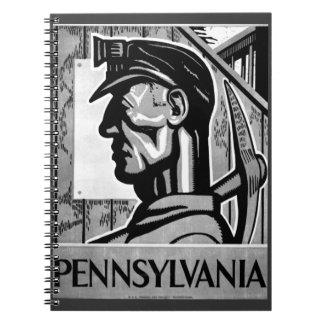 Cuaderno 1938 de WPA del poster del carbón de Penn