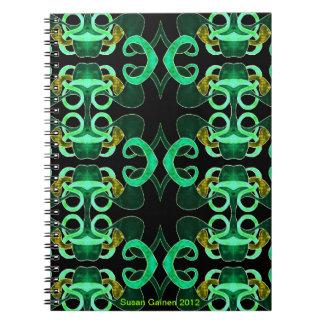 Cuaderno abstracto verde de la flor de lis