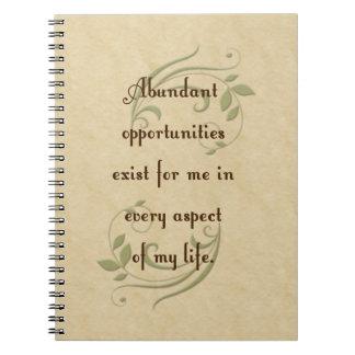Cuaderno abundante de la afirmación de las oportun