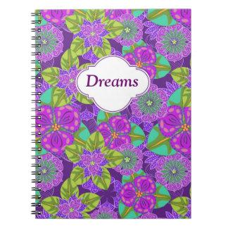 Cuaderno adaptable de la púrpura de la orquídea de