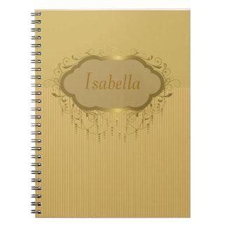 Cuaderno adornado de la raya del oro femenino