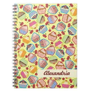 Cuaderno amarillo de las cerezas de las magdalenas