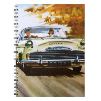Cuaderno amarillo del coche del vintage